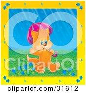 Poster, Art Print Of Cute Orange Kitten Waving Walking Under An Umbrella On A Rainy Spring Day