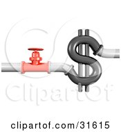 3d Piping And A Red Shut Off Valve Near A Dollar Sign Symbolizing Wasting Money Plumbing Costs And Debt