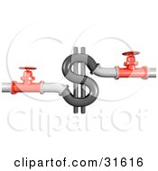 Clipart Illustration of 3d Piping And Shut Off Valves On Both Sides Of A Dollar Sign, Symbolizing Wasting Money, Plumbing Costs And Debt by Frog974 #COLLC31616-0066
