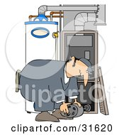 Clipart Illustration Of A White Furnace Repair Man Bending Over While Working On A Piece