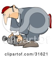 Clipart Illustration Of A Male Mechanic In Coveralls Bending Over To Lift An Auto Part by Dennis Cox