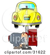 Clipart Illustration Of A Male Mechanic Bending Over To Lift A Part While Working Under A Yellow Slug Bug Car On A Lift In A Garage by Dennis Cox