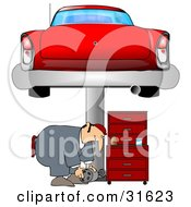Clipart Illustration Of A Male Mechanic Bending Over To Lift A Part While Working Under A Red Classic Car On A Lift In A Garage by Dennis Cox