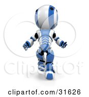 Clipart Illustration Of A Blue AO Maru Robot Running Forward And Looking Up In Amazement by Leo Blanchette