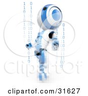 Blue AO Maru Robot Distorted With Pixels Leaning Back And Looking Upwards With Strands Of Binary Coding