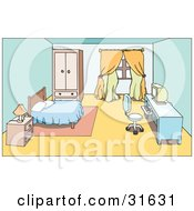 Clipart Illustration Of A Bedroom Interior Of A Nightstand Bed And Computer Desk