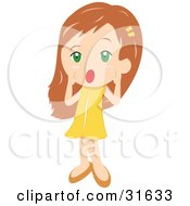 Clipart Illustration Of A Little Girl In A Yellow Dress Holding Her Hands Around Her Mouth And Shouting by PlatyPlus Art #COLLC31633-0079