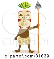 Tribal Man In A Grass Skirt And Mask Facing Front And Holding A Spear