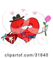 Romantic Red Heart Character In A Bowtie And Hat, Holding A Pink Roses And Box Of Valentine's Day Candy For His Date