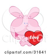 Clipart Illustration Of A Cute Pink Bunny Holding Up A Red Heart Valentine