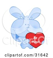 Cute Blue Bunny With Blushed Cheeks Holding Up A Red Heart Valentine