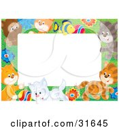 Clipart Illustration Of A Stationery Border Or Frame Of A Litter Of Playful Kittens Flowers And A Fish