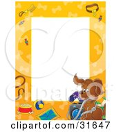 Clipart Illustration Of A Stationery Border Or Frame Of A Puppy Dog With A Camera Leash Food Toys And Dog Bones