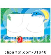 Clipart Illustration Of A Dolphin Leaping In Front Of The Sun Over A Ball On A Tropical Beach With A Blank White Rectangle For A Photo Or Text