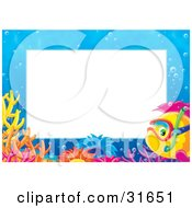 Clipart Illustration Of A Stationery Border Or Frame Of A Snorkeling Saltwater Fish With Sea Anemones And Corals