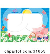 Stationery Border Or Frame With An Elephant Watching Butterflies In A Field Of Flowers