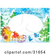 Clipart Illustration Of A Stationery Border Or Frame With Bluebirds A Hedgehog And Sled On A Snowy Winter Day