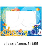 Clipart Illustration Of A Stationery Border Or Frame With A Captain Shark Marine Fish Anchor Helm And Crab by Alex Bannykh #COLLC31655-0056