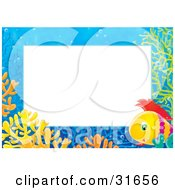 Clipart Illustration Of A Stationery Border Or Frame Of Colorful Corals And A Saltwater Fish