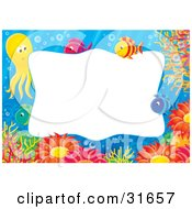 Clipart Illustration Of A Stationery Border Or Frame With An Octopus Fish Corals And Anemones Underwater by Alex Bannykh