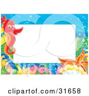 Clipart Illustration Of A Stationery Border Or Frame With A Red Seahorse Shells And Starfish