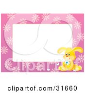 Clipart Illustration Of A Stationery Border Or Frame With A Yellow Bunny Pulling Petals Off Of A Flower