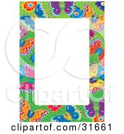 Stationery Border Or Frame Of Colorful Butterflies And Flowers