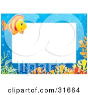 Clipart Illustration Of A Stationery Border Or Frame Of An Orange And Red Striped Saltwater Fish And Colorful Corals