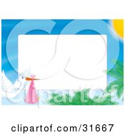 Clipart Illustration Of A Stationery Border Or Frame Of A Stork Delivering A Baby And Flying Over Palms