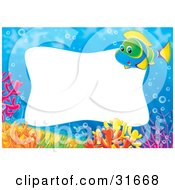 Clipart Illustration Of A Stationery Border Or Frame With A Green Blue And Yellow Marine Fish And Colorful Corals