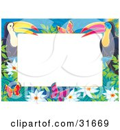 Clipart Illustration Of A Stationery Border Or Frame Of Two Toucans Flowers And Butterflies