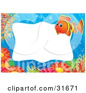 Clipart Illustration Of A Stationery Border Or Frame Of An Orange And Yellow Clownfish Sea Anemones And Corals Underwater