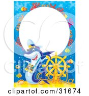 Clipart Illustration Of A Stationery Border Or Frame Of Colorful Coral Fish Sunken Treasure A Helm And Shark