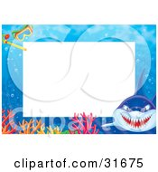 Clipart Illustration Of A Stationery Border Or Frame With A Mean Shark Colorful Corals And Snorkel Gear by Alex Bannykh #COLLC31675-0056