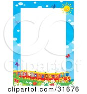 Clipart Illustration Of A Stationery Border Or Frame Of A Train Full Of Animals In A Field Of Flowers And Butterflies by Alex Bannykh