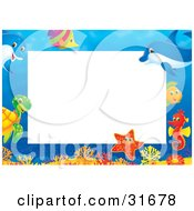 Clipart Illustration Of A Stationery Border Or Frame With Colorful Marine Fish A Turtle Starfish Seahorse And Dolphins by Alex Bannykh #COLLC31678-0056