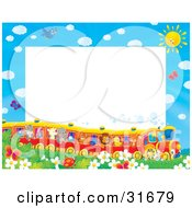 Clipart Illustration Of A Stationery Border Or Frame Of Birds Butterflies Bugs And Flowers Watching A Train Of Animals On A Sunny Day by Alex Bannykh