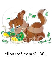 Clipart Illustration Of A Bad Puppy Chewing Up A Pair Of Green Shoes