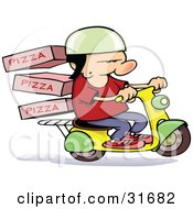 Clipart Illustration Of A Pizza Delivery Boy On A Scooter Boxes On The Rack Behind Him