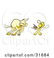 Clipart Illustration Of A Yellow Man Holding A Stool And Whip While Taming A Bull Bull Market
