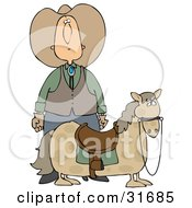 White Cowboy In A Hat Standing Behind His Short Chubby Pony
