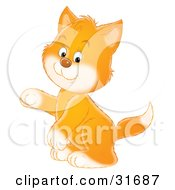 Clipart Illustration Of A Ginger Kitten With White Paws And Cheeks Sitting Up On His Hind Legs And Holding One Paw Up
