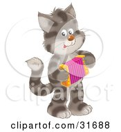 Clipart Illustration Of A Striped Kitty Cat Standing On Its Hind Legs Playing An Accordion