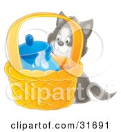 Clipart Illustration Of A Sneaky Gray And White Kitten Trying To Get To Milk In A Jar In A Basket