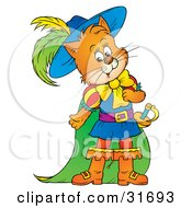 Poster, Art Print Of Ginger Cat Puss In Boots In Colorful Clothes And Cape