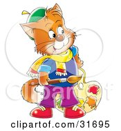 Clipart Illustration Of An Orange Cat Artist Holding A Paintbrush And Paint Palette