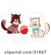 Clipart Illustration Of Two White And Brown Kittens Wearing Bows Playing With A Ball Glancing At The Viewer
