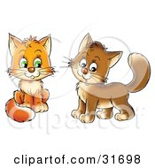 Clipart Illustration Of Two Frisky Orange And Brown Kitty Cats Looking At The Viewer