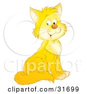Clipart Illustration Of An Adorable Yellow Kitty Cat With White Cheeks And Chest