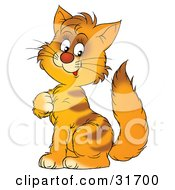 Clipart Illustration Of A Cute Orange Striped Kitty Cat Sitting And Scratching His Chest